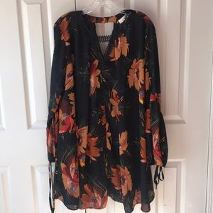 Umgee Navy floral long tunic style dress